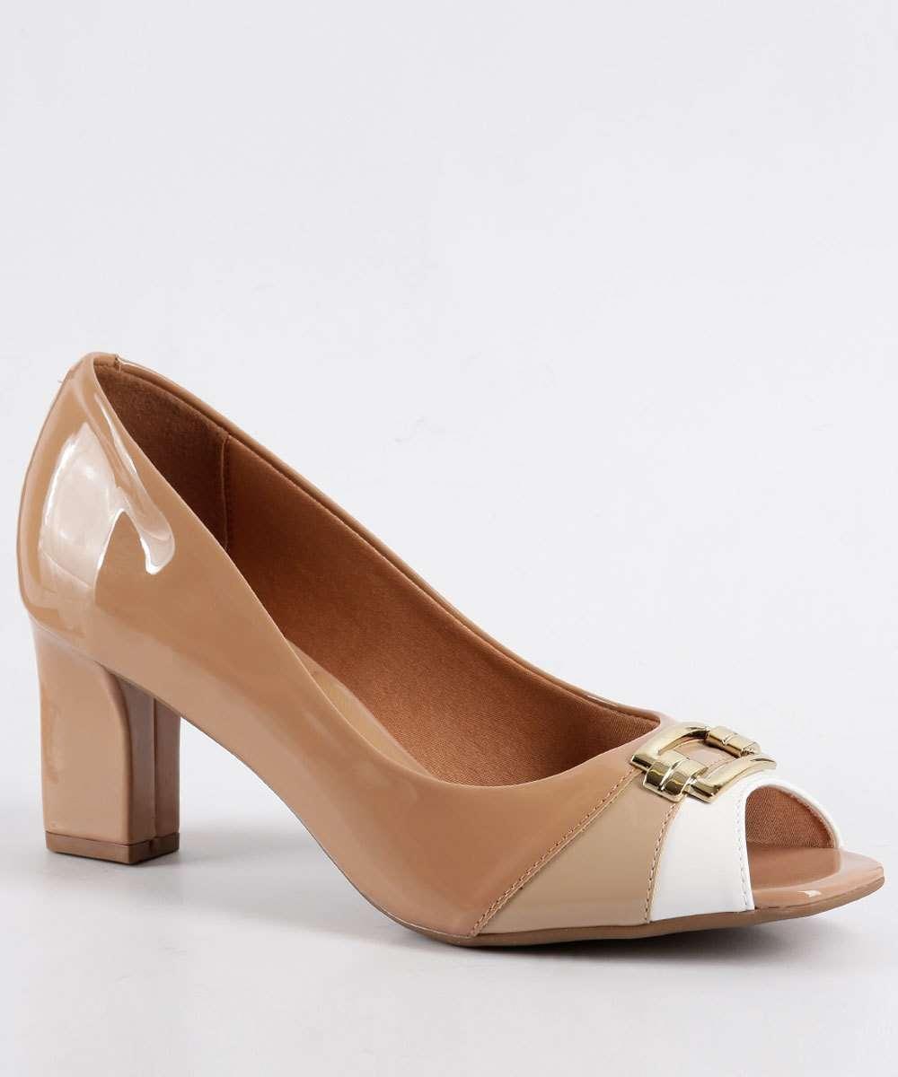 5f830eec40 Sapato Feminino Peep Toe em Verniz Vizzano