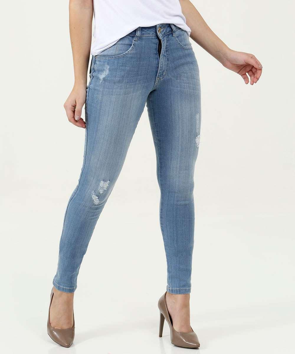 Calça Jeans Destroyed Skinny Feminina Biotipo