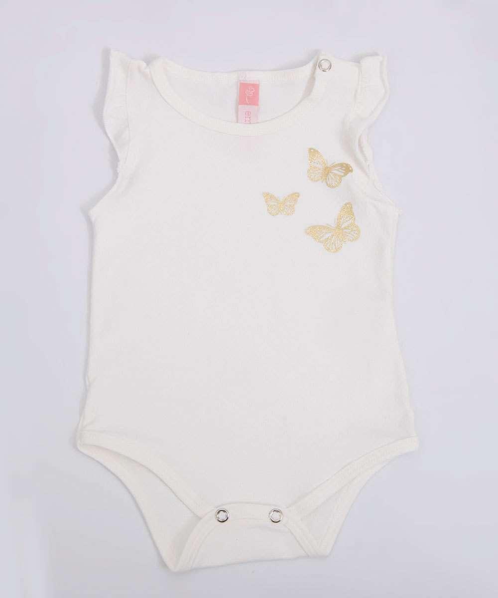 Body Infantil Bebê Borboleta Sem Manga Tam 0 a 10 Meses