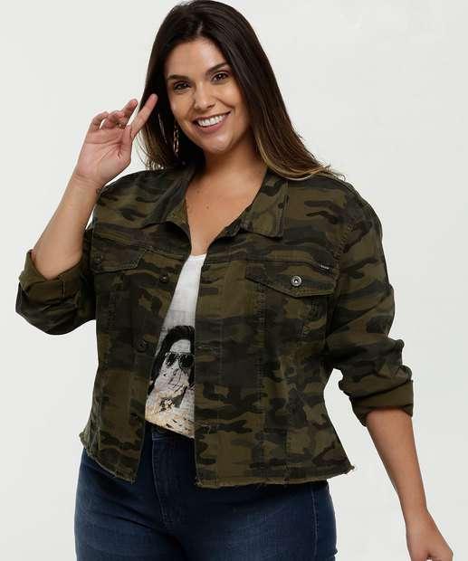Image_Jaqueta Feminina Sarja Estampa Camuflada Plus Size Razon
