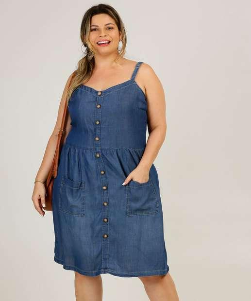 Image_Vestido Plus Size Feminino Jeans Botões Alças Finas