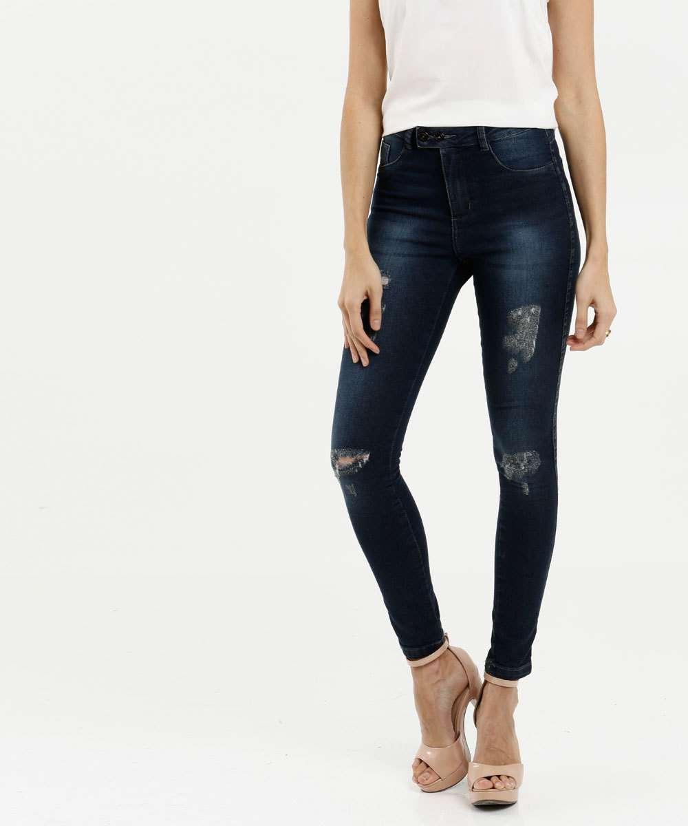 Calça Feminina Jeans Skinny Destroyed Razon