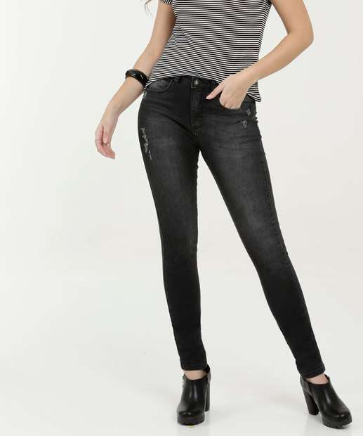 Image_Calça Feminina Jeans Puídos Skinny Razon