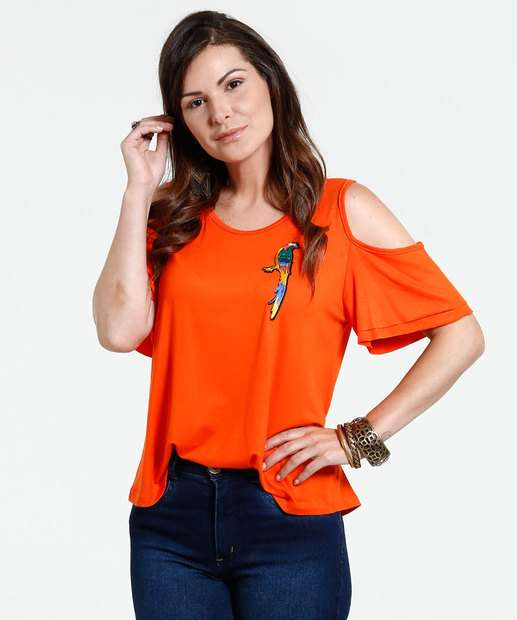 Image_Blusa Feminina Open Shoulder Patch Pássaros Marisa