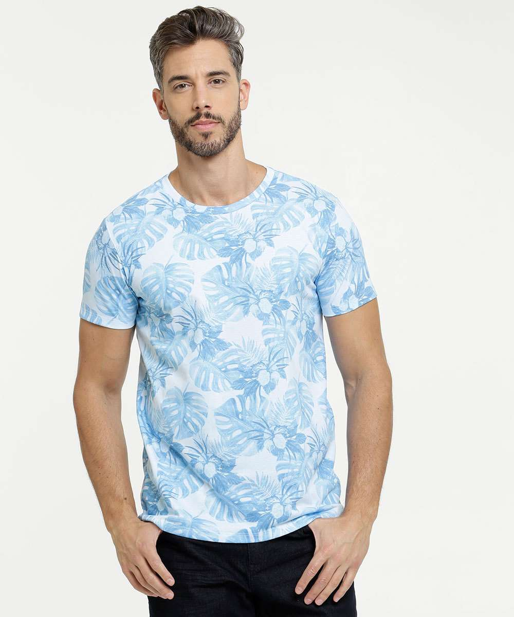 Camiseta Masculina Estampa Tropical Manga Curta Rock & Soda