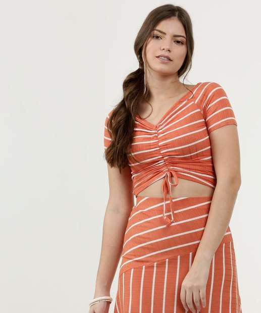 Image_Blusa Feminina Cropped Canelado Estampa Listras