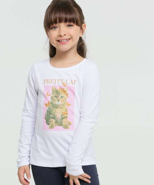 Image_Blusa Infantil Estampa Gato Manga Longa