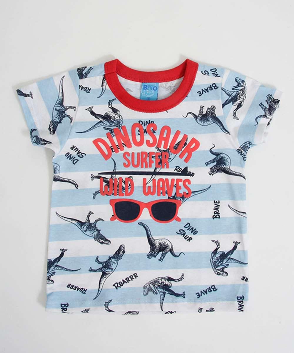 Camiseta Infantil Bebê Estampa Dinossauro Manga Curta