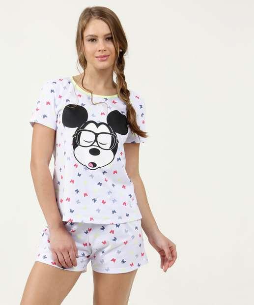 Image_Pijama Feminino Neon Estampa Mickey Manga Curta Disney