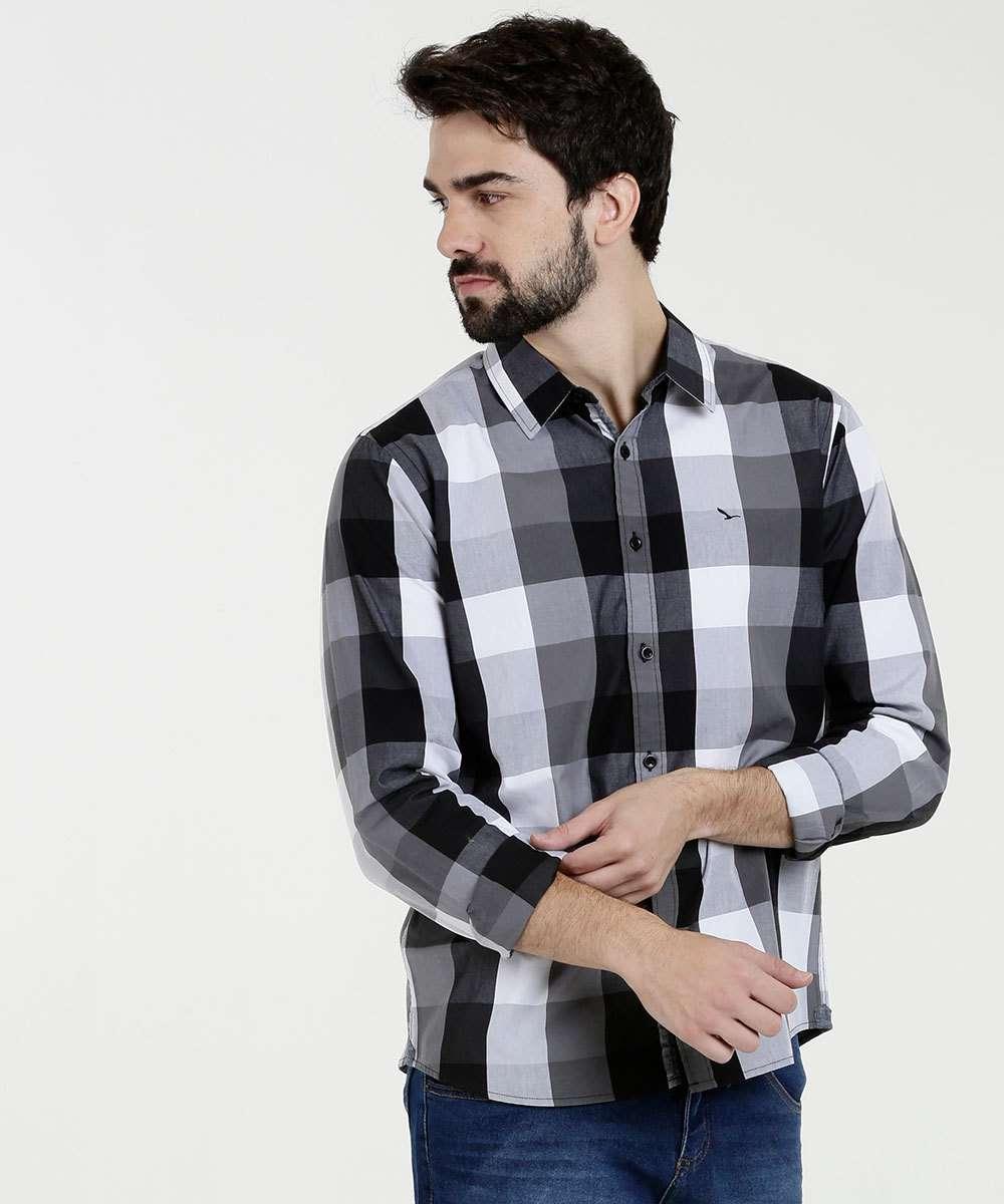 Camisa Masculina Estampa Xadrez Manga Longa Yacht Master