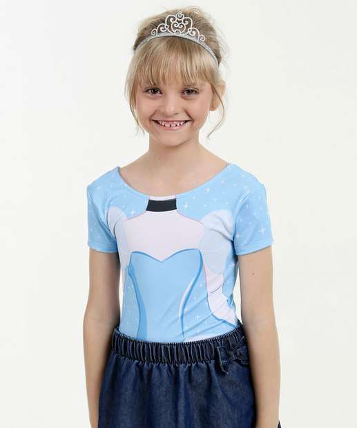 Image_Body Infantil Estampa Cinderela Manga Curta Disney
