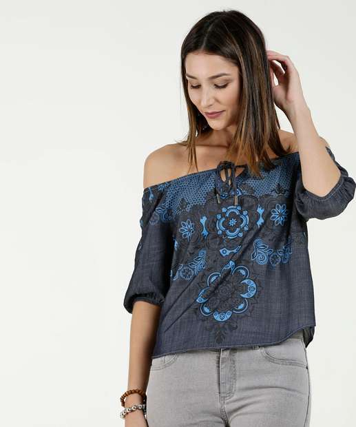 Image_Blusa Feminina Cropped Ombro a Ombro Estampa Floral Five Jeans