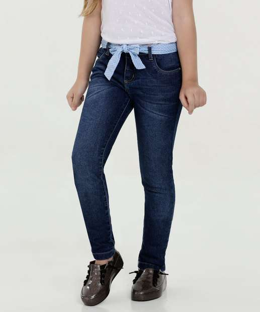 Image_Calça Infantil Jeans Cinto Bolinhas Marisa
