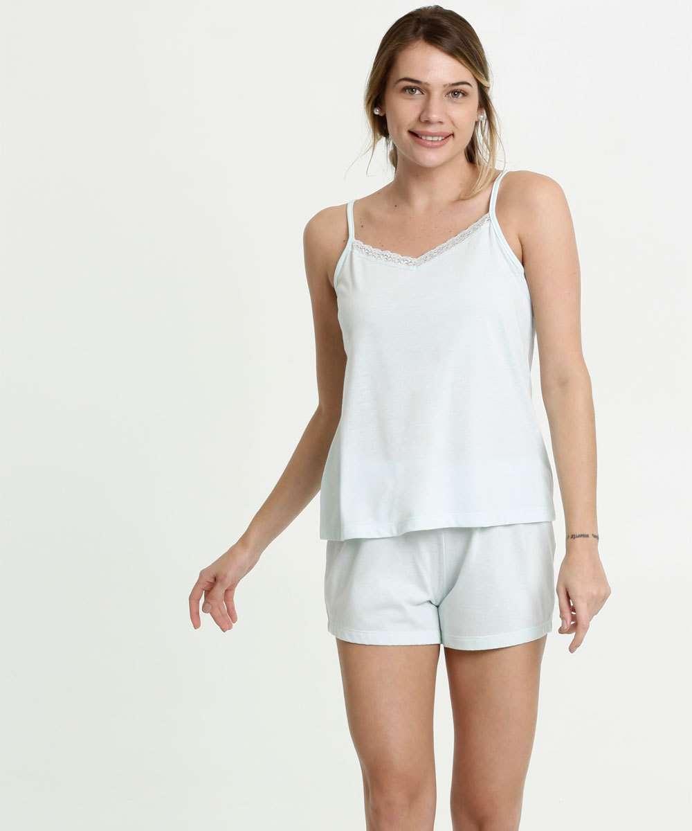 Pijama Feminino Recorte Renda Alças Finas Marisa