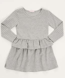 Vestido Infantil Listrado Manga Longa Marisa