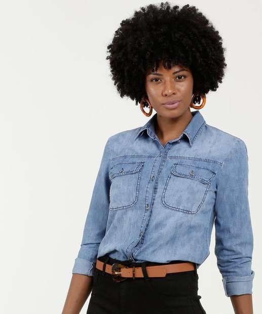 Image_Camisa Feminina Jeans Botões Manga Longa Gups