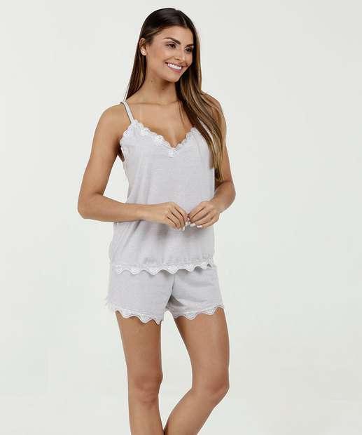 1cfd28bd3 Pijama Feminino Short Doll Renda Alças Finas Marisa