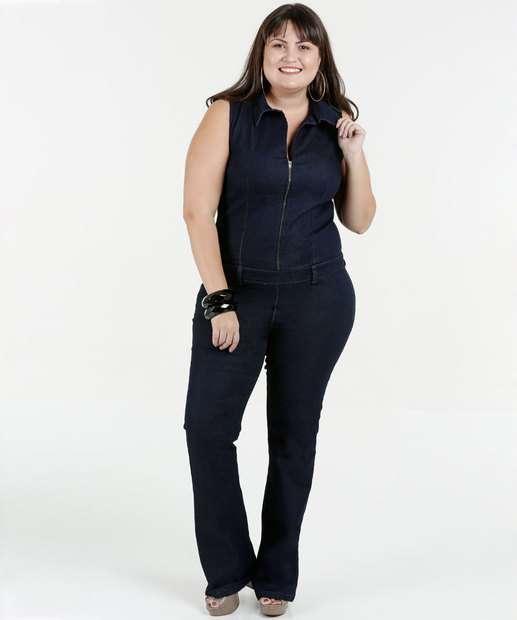 Image_Macacão Feminino Jeans Flare Plus Size Razon