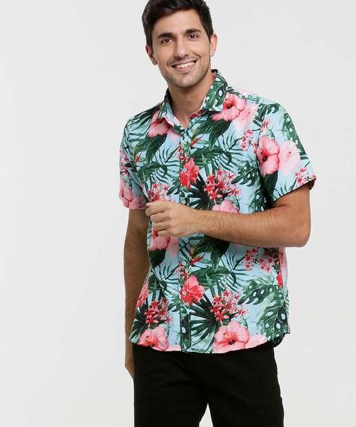Image_Camisa Masculina Tropical Manga Curta