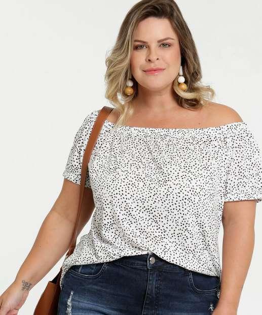 Image_Blusa Feminina Ombro a Ombro Estampa Bolinhas Plus Size