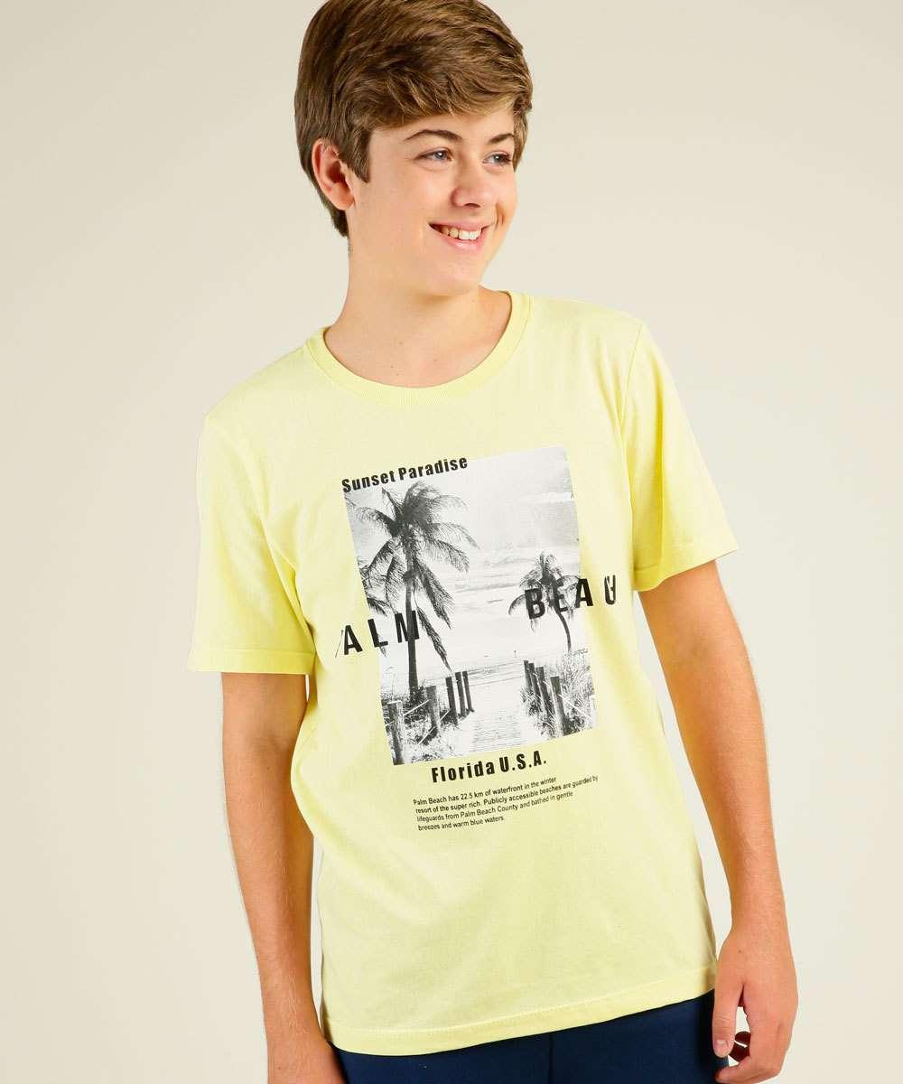 Camiseta Juvenil Manga Curta Estampada MR Tam 10 a 16