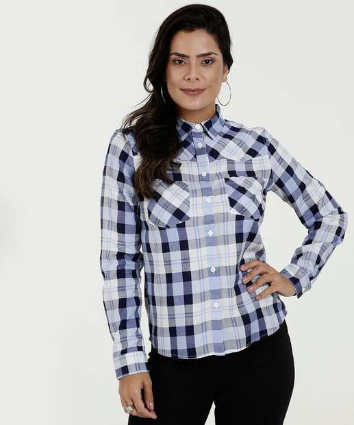 8789871c04 Camisa Feminina Estampa Xadrez Manga Longa Marisa