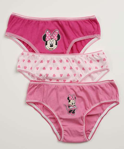 Image_Kit 3 Calcinhas Infantil Estampa Minnie Disney