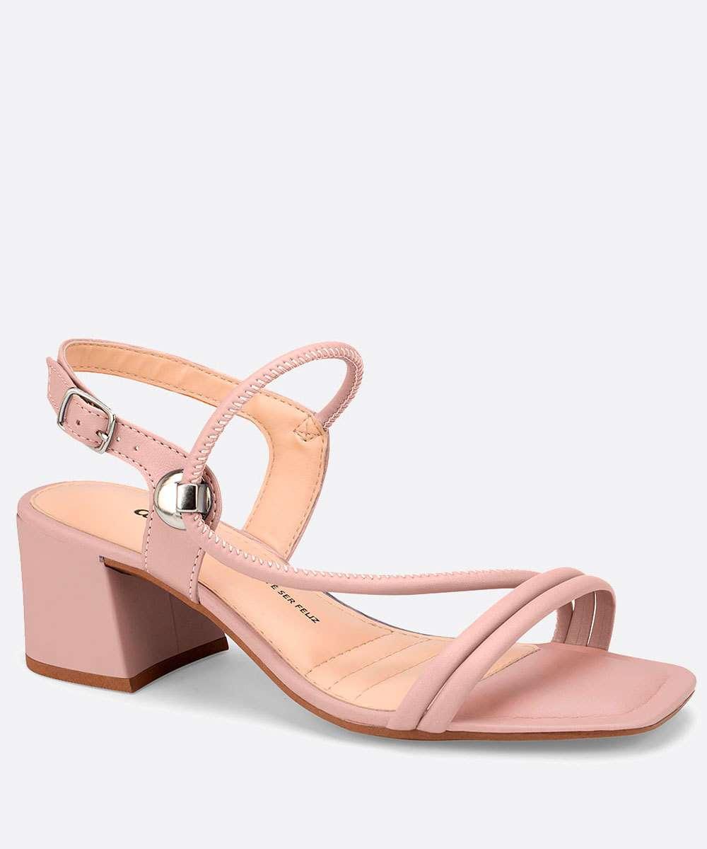 Sandália Salto Grosso Feminina Textura Croco Tiras Dakota
