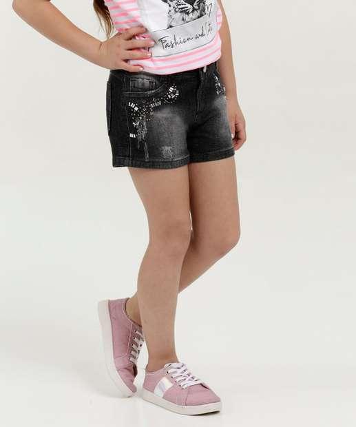Image_Short Infantil Jeans Stretch Puídos