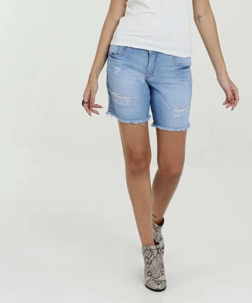 Image_Short Feminino Jeans Puídos Barra Desfiada Biotipo