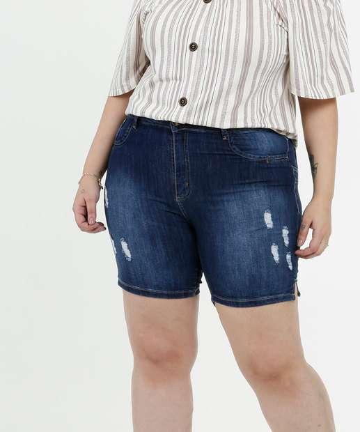 Image_Short Feminino Jeans Destroyed Plus Size Sawary
