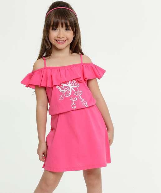 Image_Vestido Infantil Open Shoulder Estampa Borboleta