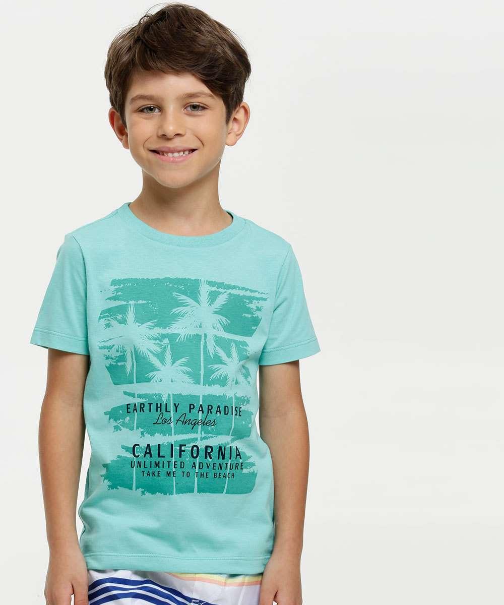 Camiseta Infantil Estampa Coqueiros Manga Curta MR