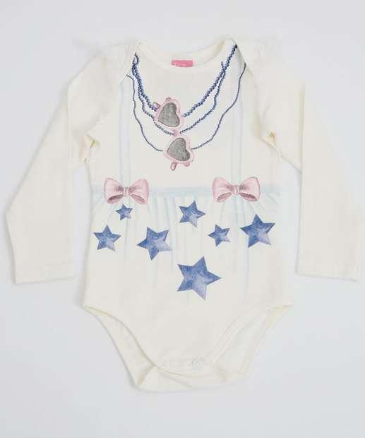 Image_Body Infantil Bebê Estampa Estrelas Manga Longa