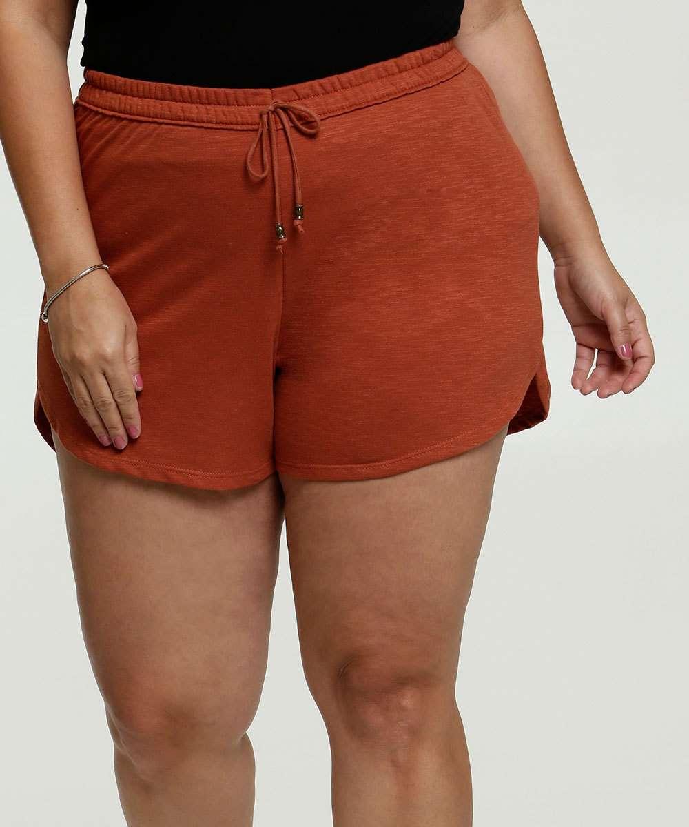 Short Feminino Moletinho Amarração Plus Size