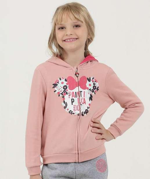 05631c5ee Casaco Infantil Moletom Estampa Minnie Capuz Disney
