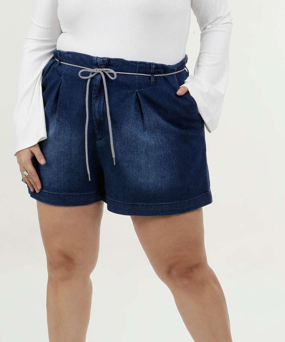 Short Feminino Jeans Stretch Plus Size Razon