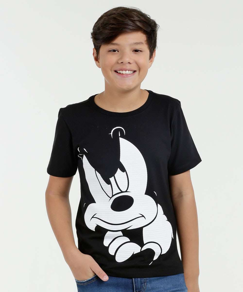 Camiseta Juvenil Estampa Mickey Manga Curta Disney