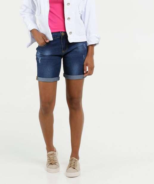Image_Bermuda Feminina Jeans Puídos Barra Dobrada Marisa