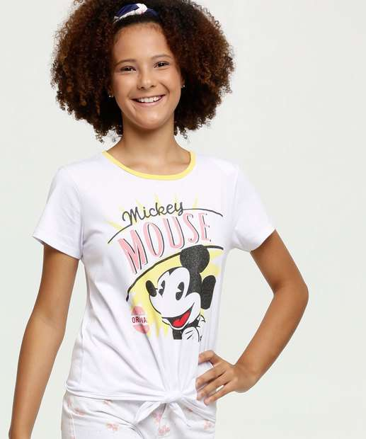 Image_Blusa Juvenil  Mickey Amarração Manga Curta Disney
