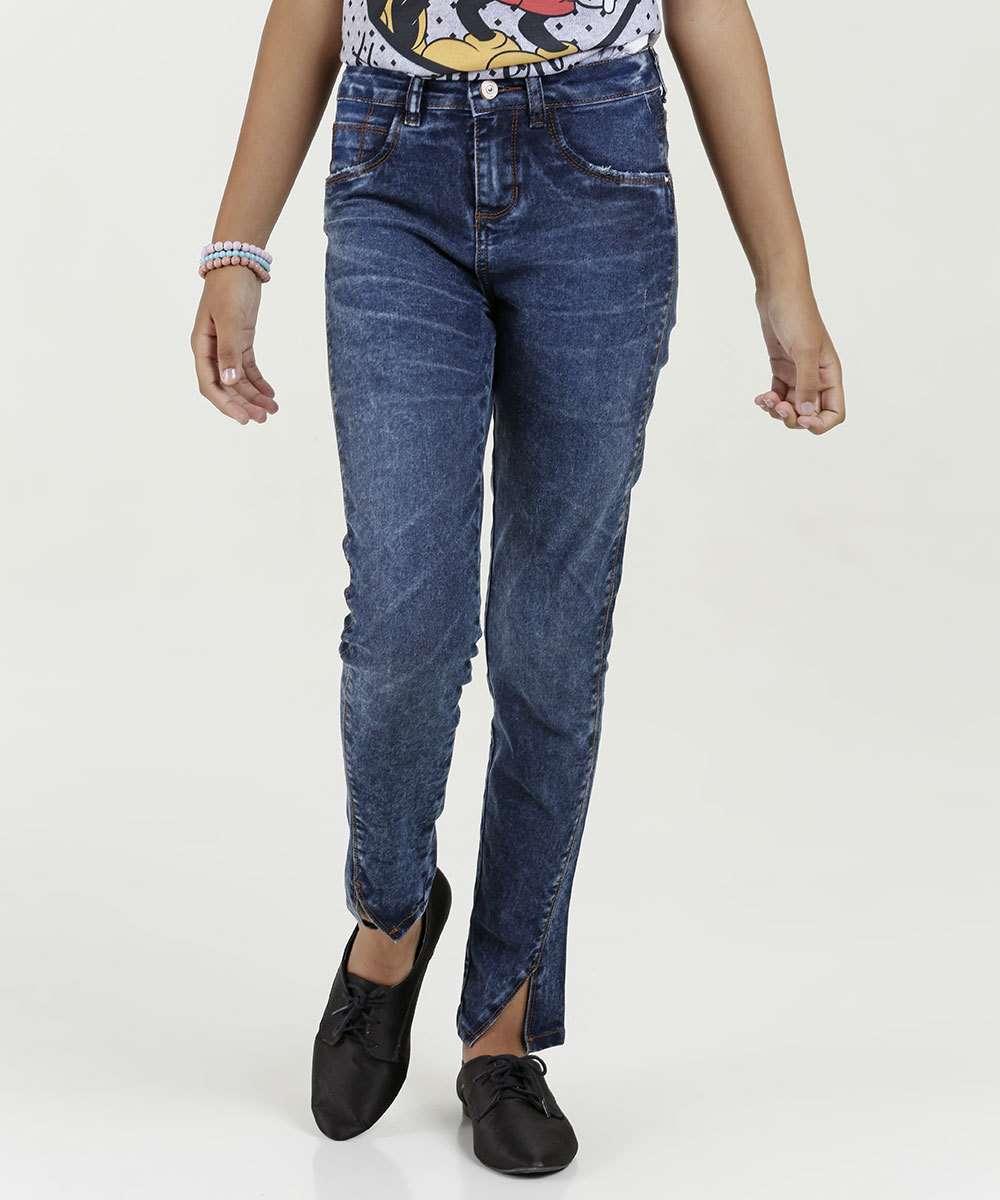 Calça Juvenil Jeans Skinny Fenda Marisa