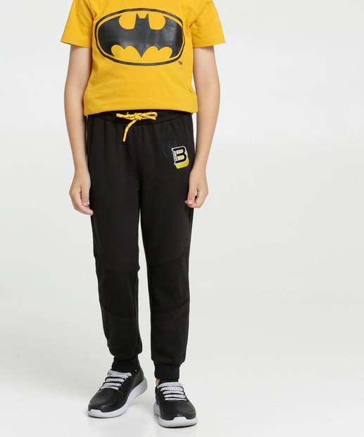 Image_Calça Infantil Moletom Bordado Batman Liga da Justiça