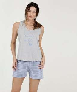Pijama Feminino Listrado Nadador Marisa