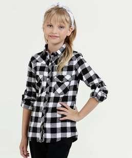 Camisa Infantil Estampa Xadrez Manga Longa Marisa