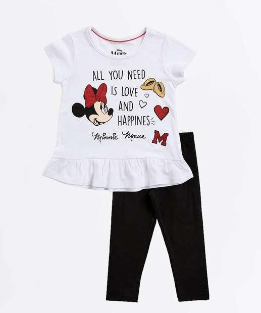 b82981007 Conjunto Infantil Estampa Minnie Glitter Manga Curta Disney