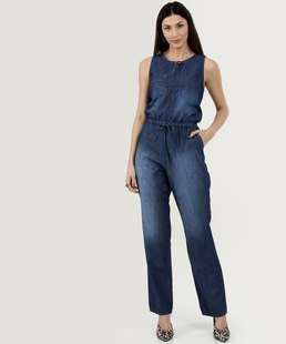Macacão Feminino Jeans Sem Manga Gups