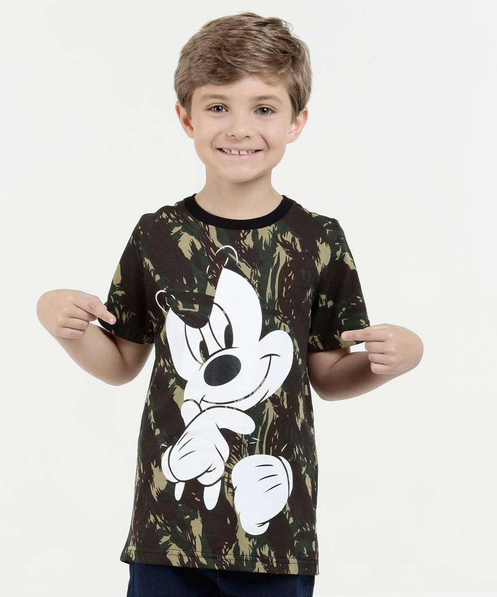 Camiseta Infantil Camuflada Estampa Mickey Disney