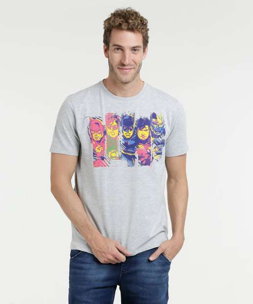 Image_Camiseta Masculina Estampa Heróis Manga Curta Liga da Justiça
