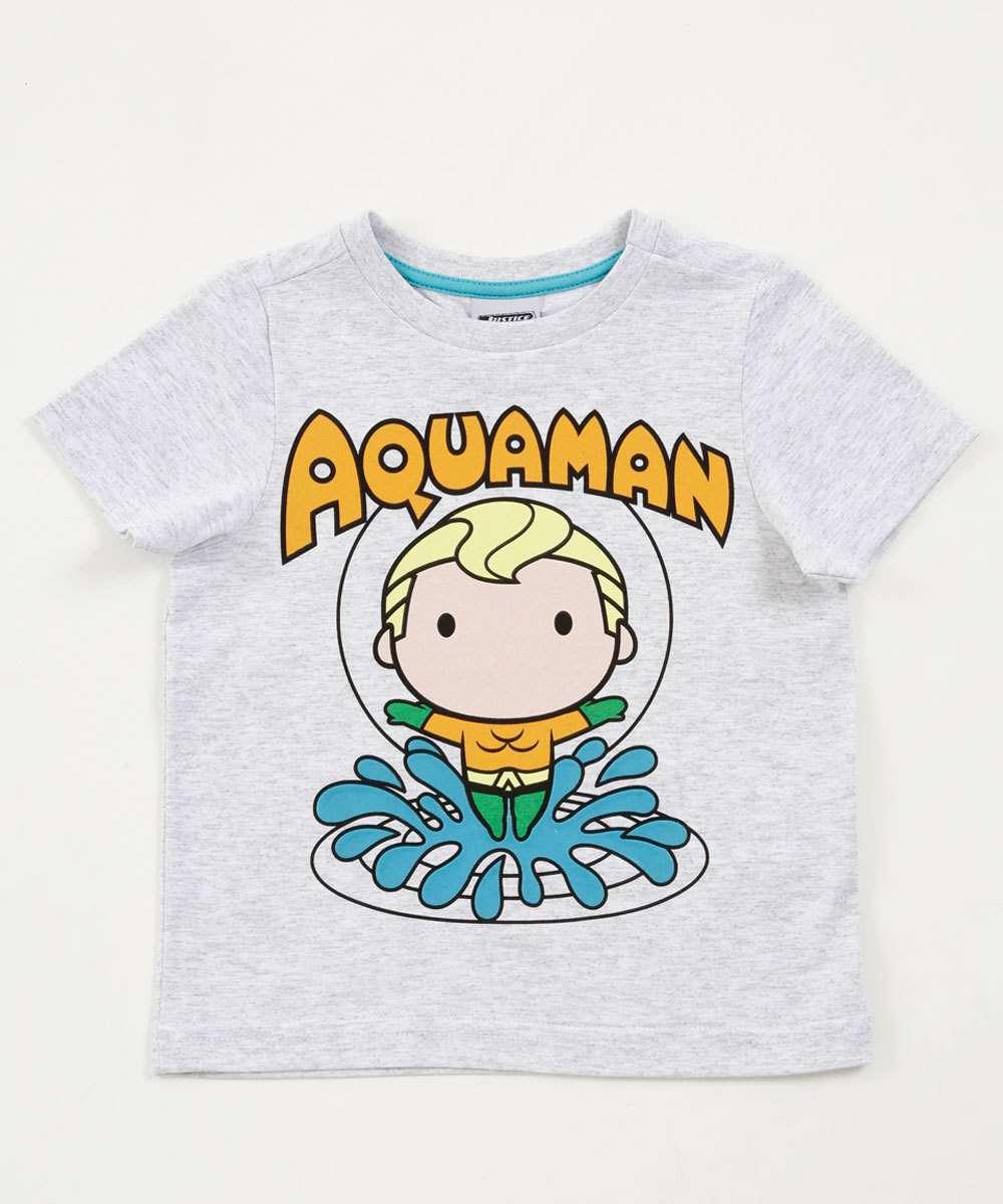 Camiseta Infantil Estampa Aquaman  Liga da Justiça