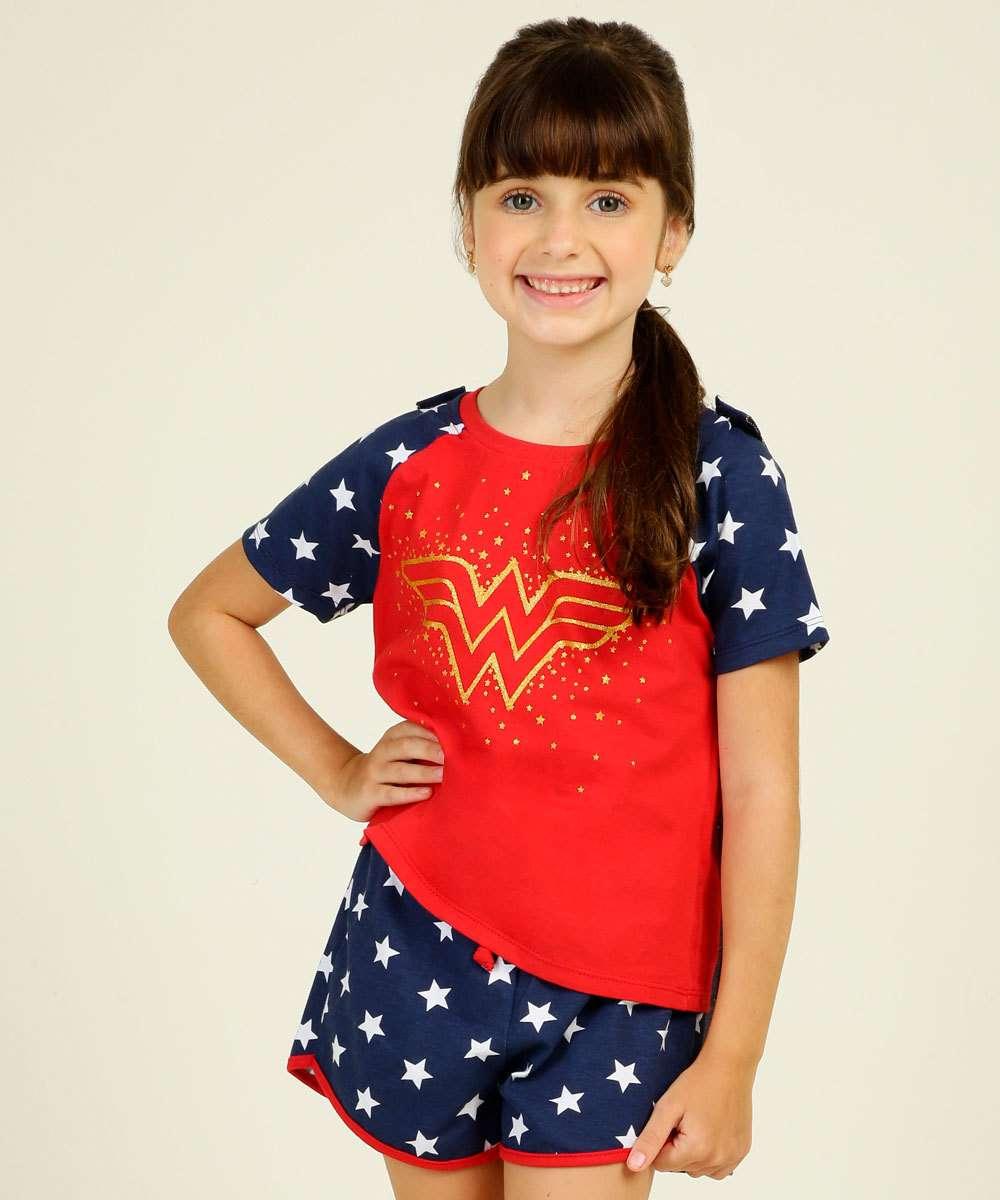 Pijama Infantil Mulher Maravilha Liga da Justiça Tam 4 a 12